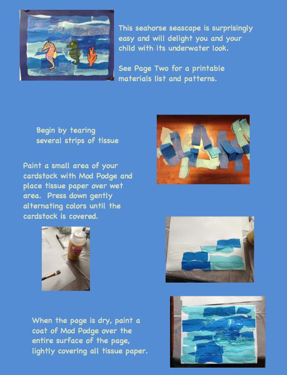 Tissue Paper Seahorse Seascape